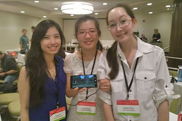 (from left) Award winners Cheryl Yu, Xin Tong, and Amber Choo at the Unite 2014 Conference in Seattle.
