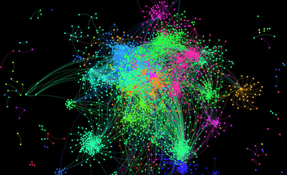 Twitter Communications Network as captured and visualized by Netlytic, one of the the analytic tool being developed at the Dalhousie Social Media Lab. CREDIT: Social Media Lab